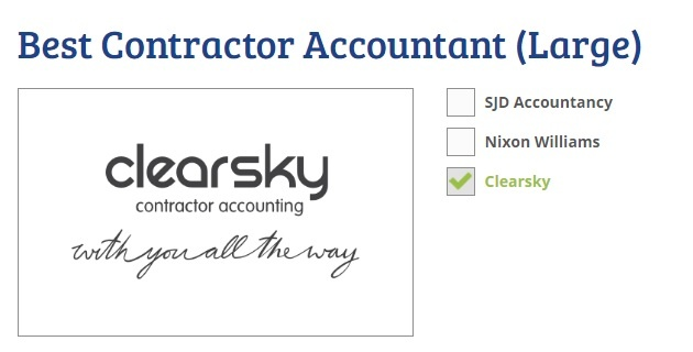 How to Vote for ClearSky in 2016 ContractorUK Awards